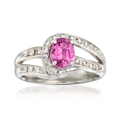 C. 1990 Vintage Tasaki .87 Carat Pink Sapphire and .22 ct. t.w. Diamond Ring in Platinum
