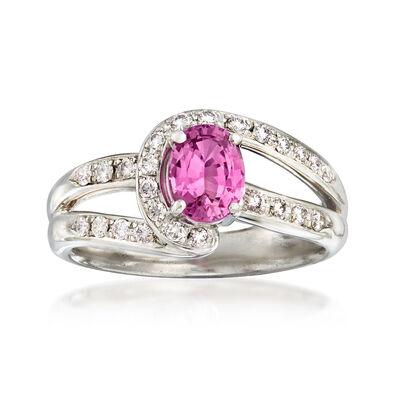 C. 1990 Vintage Tasaki .87 Carat Pink Sapphire and .22 ct. t.w. Diamond Ring in Platinum, , default