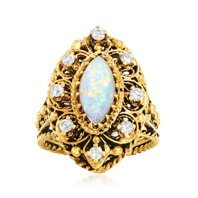 C. 1970 Vintage Opal and .45 ct. t.w. Diamond Marquise-Shaped Ring in 10kt Yellow Gold, , default