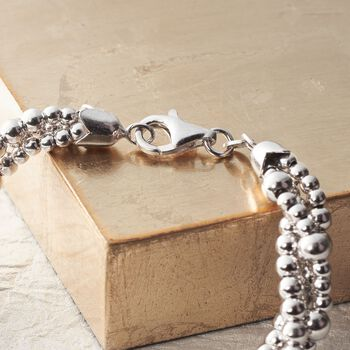 Italian Sterling Silver Twisted Multi-Bead Bracelet, , default