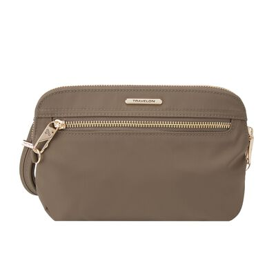 "Travelon ""Anti-Theft Tailored"" Sable Nylon Twill Crossbody Clutch, , default"