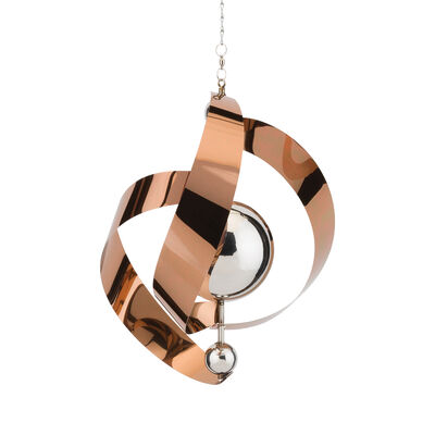 "Regal ""Vogue"" Set of 2 Copper Metal Hanging Outdoor Wind Spinners, , default"