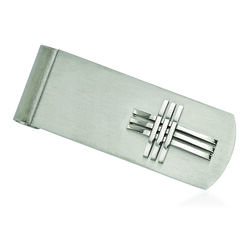 Stainless Steel Polished and Brushed Cross Money Clip, , default