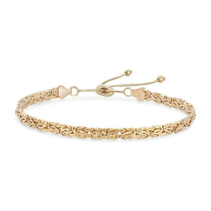 14kt Yellow Gold Byzantine Bolo Bracelet