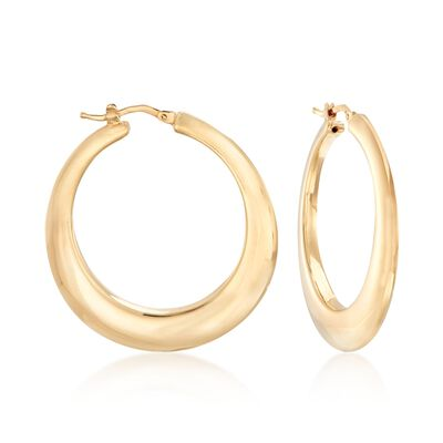 Italian 14kt Yellow Gold Graduated Hoop Earrings, , default