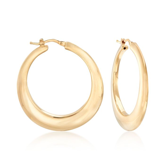 "Italian 14kt Yellow Gold Graduated Hoop Earrings. 1 1/2"", , default"