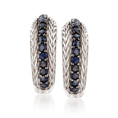 "Phillip Gavriel ""Woven"" .70 ct. t.w. Black Sapphire Hoop Earrings in Sterling Silver, , default"