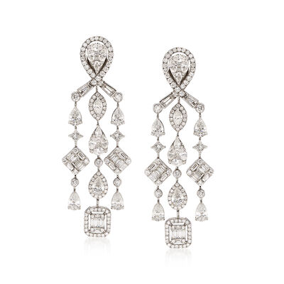 7.47 ct. t.w. Multi-Shaped Diamond Chandelier Earrings in 18kt White Gold, , default