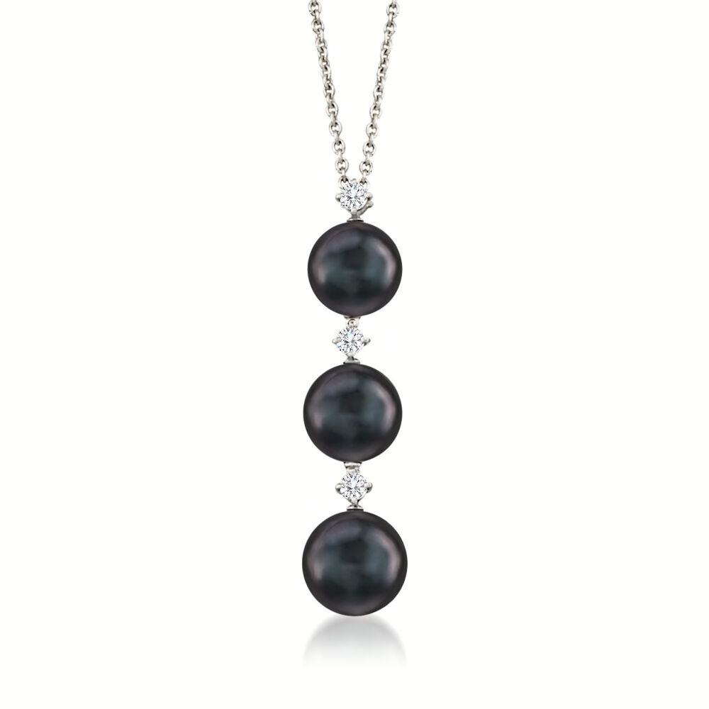 6129b66292480b Mikimoto 8-9mm Black South Sea Pearl Necklace with .13 ct .t.w. Diamonds