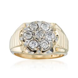 C. 1970 Vintage 1.50 ct. t.w. Diamond Flower Ring in 10kt Yellow Gold, , default