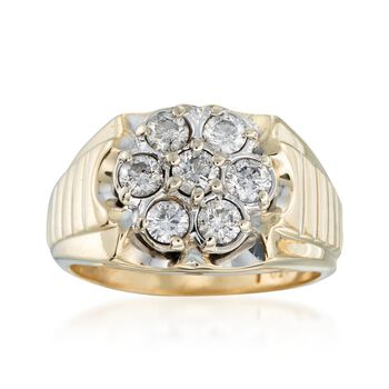 C. 1970 Vintage 1.50 ct. t.w. Diamond Flower Ring in 10kt Yellow Gold. Size 12, , default