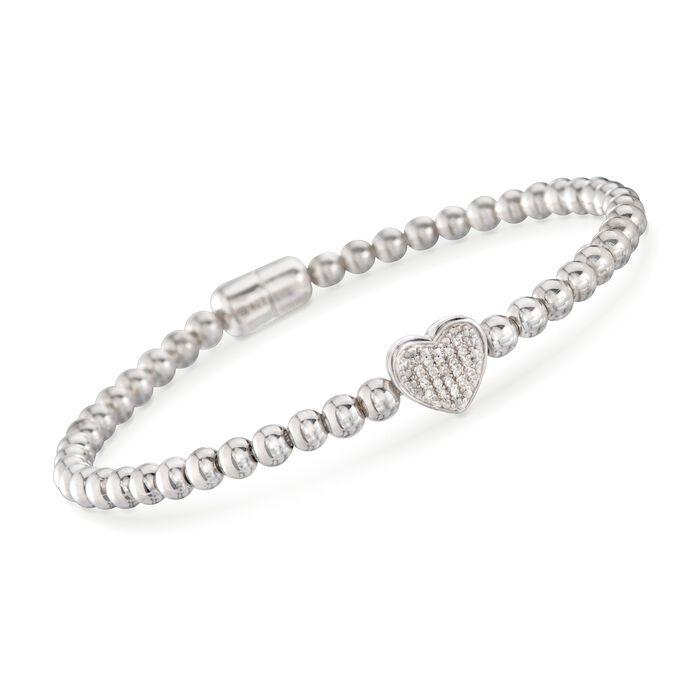 Diamond Heart Bracelet with Sterling Silver Beads, , default