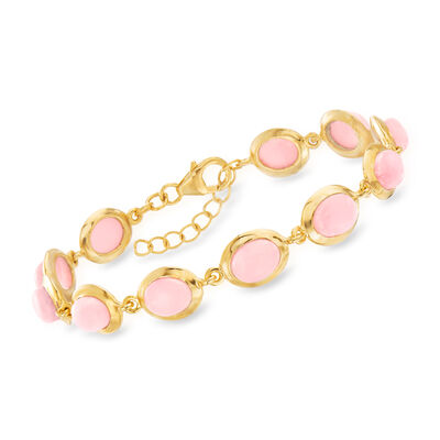 Pink Opal-Link Bracelet in 18kt Gold Over Sterling, , default
