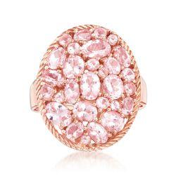 6.00 ct. t.w. Morganite Cluster Ring in 18kt Rose Gold Over Sterling, , default