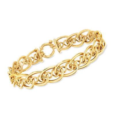Italian 14kt Yellow Gold Infinity and Oval-Link Bracelet