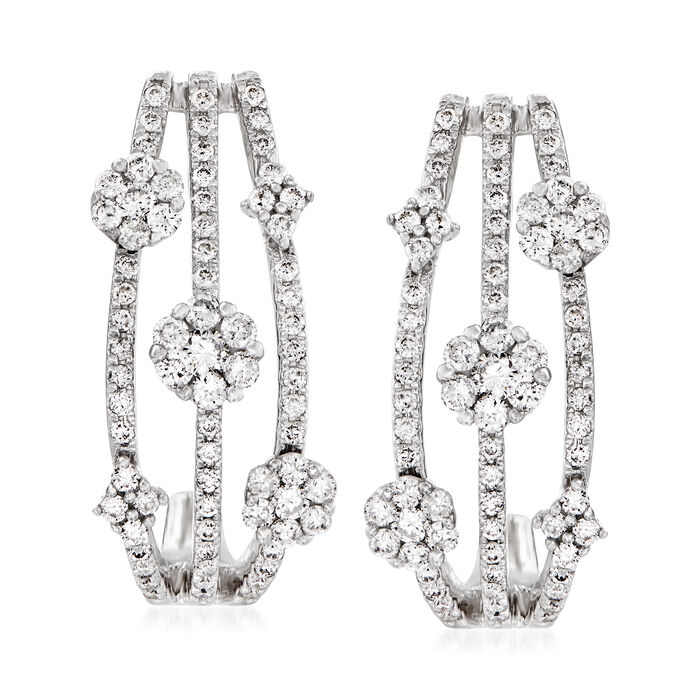 .93 ct. t.w. Diamond Three-Row J-Hoop Earrings in 14kt White Gold