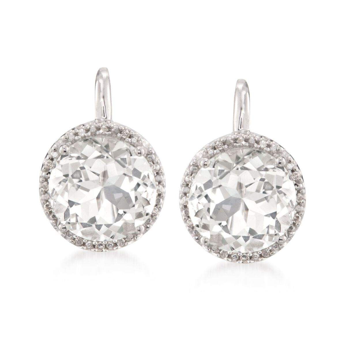 7 75 Ct T W White Topaz Earrings With Diamond Accents In Sterling Silver Ross Simons