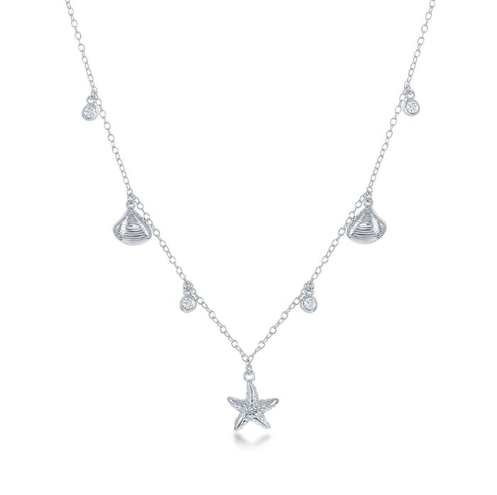 """.20 ct. t.w. CZ Sealife Charm Necklace in Sterling Silver. 16"""", , default"""
