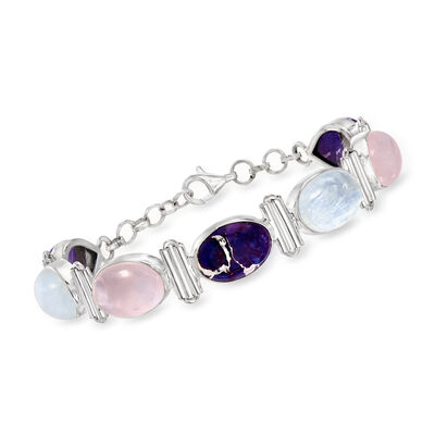 Purple Turquoise, Moonstone and 11.00 ct. t.w. Rose Quartz Bracelet in Sterling Silver