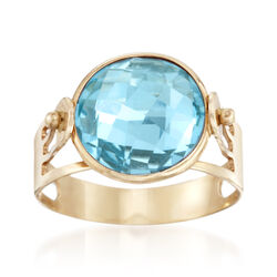 Italian 4.80 Carat Blue Topaz Ring in 14kt Yellow Gold, , default