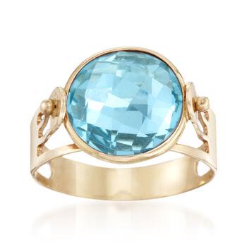 Italian 4.80 Carat Blue Topaz Ring in 14kt Yellow Gold, , default