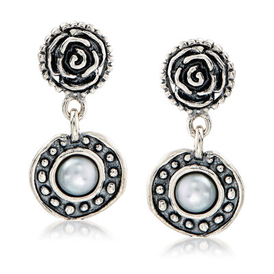 4.55mm Cultured Pearl Rose Drop Earrings in Sterling Silver, , default