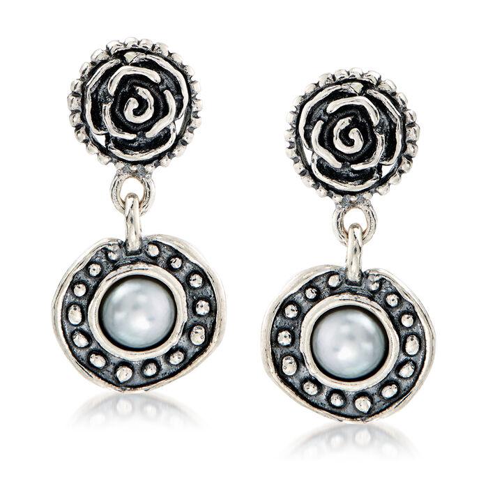 4.55mm Cultured Pearl Rose Drop Earrings in Sterling Silver