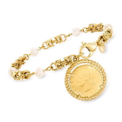Italian 6mm Cultured Pearl and Replica Lira Coin Byzantine Bracelet in 18kt Gold Over Sterling , , default