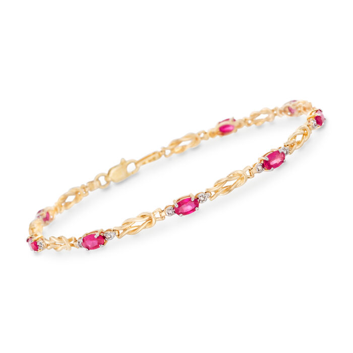 2.40 ct. t.w. Ruby Knot Bracelet with Diamond Accents in 14kt Yellow Gold, , default