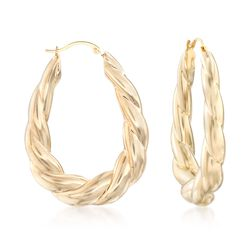 "Andiamo 14kt Yellow Gold Twisted Hoop Earrings. 1 1/2"", , default"
