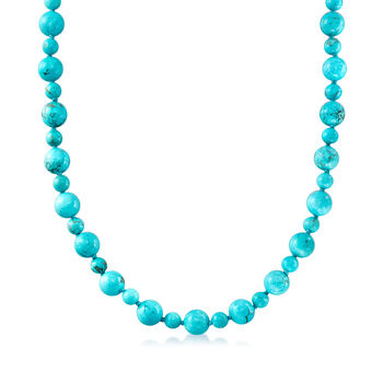 8-12mm Simulated Turquoise Bead Endless Necklace with Free Sterling Silver Shortener. 80""