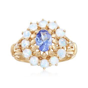 Opal and .75 Carat Tanzanite Ring With Diamond Accents in 14kt Yellow Gold , , default