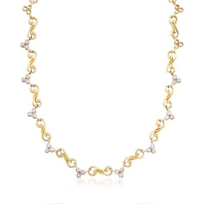 C. 2000 Vintage Seidengang 1.40 ct. t.w. Diamond Swirl Link Necklace in 18kt Yellow Gold
