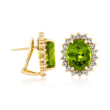 C. 1980 Vintage 11.10 Peridot and 1.60 ct. t.w. Diamond Earrings in 14kt Yellow Gold, , default