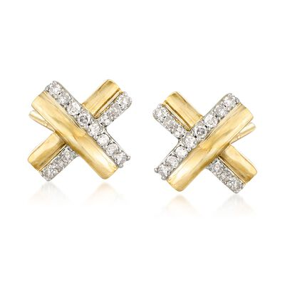 .10 ct. t.w. Diamond X Earrings in 18kt Gold Over Sterling, , default