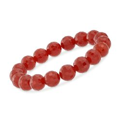 10-11mm Red Agate Bead Stretch Bracelet , , default