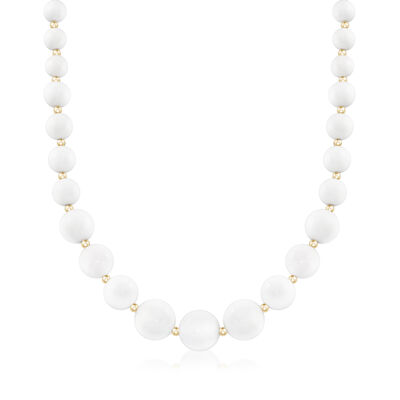 6-14mm White Agate Graduated Necklace in 14kt Yellow Gold, , default