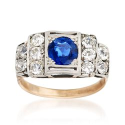 C. 1900 Vintage 1.00 ct. t.w. Diamond and .80 Carat Sapphire Ring in Platinum and 18kt Gold. Size 6.5, , default