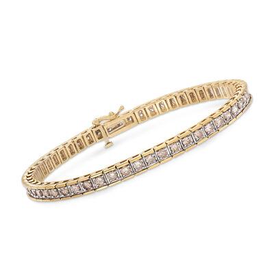 C. 1990 Vintage 4.00 ct. t.w. Cognac Diamond Tennis Bracelet in 14kt Yellow Gold, , default