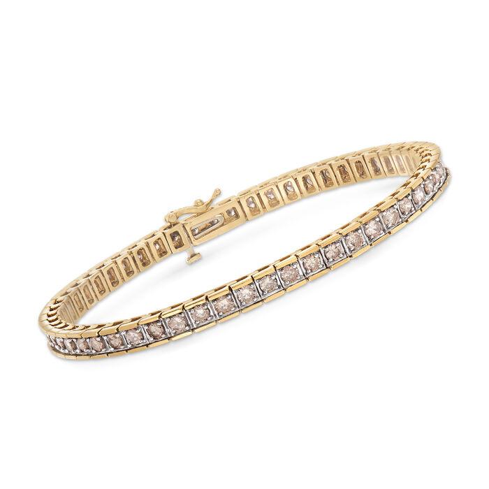 "C. 1990 Vintage 4.00 ct. t.w. Cognac Diamond Tennis Bracelet in 14kt Yellow Gold. 7"", , default"