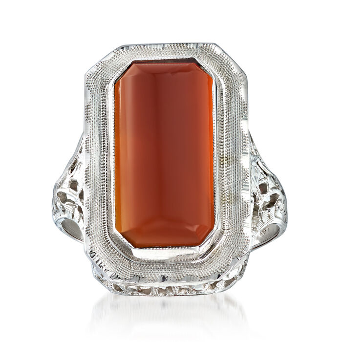 C. 1950 Vintage 15x8mm Carnelian Elongated Ring in 14kt White Gold. Size 5