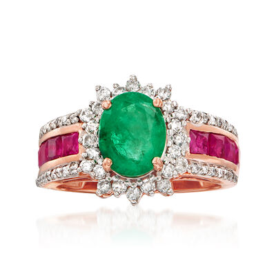1.70 Carat Emerald, 1.20 ct. t.w. Ruby and .50 ct. t.w. Diamond Ring in 14kt Rose Gold, , default