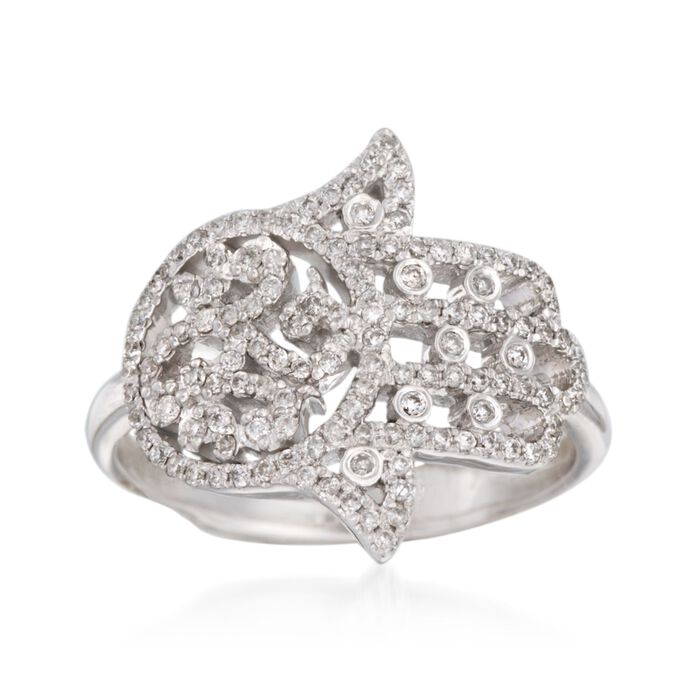.40 ct. t.w. Diamond Hamsa Hand Ring in 14kt White Gold, , default