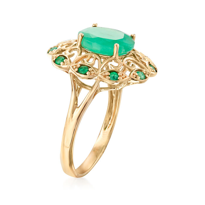 2.50 ct. t.w. Emerald Openwork Ring in 14kt Yellow Gold