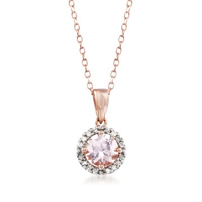 .80 Carat Morganite Halo Pendant Necklace With Diamond Accents in 14kt Rose Gold Over Sterling, , default