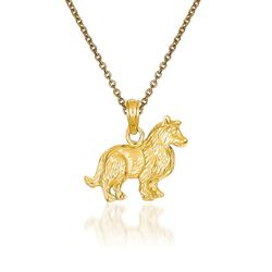"14kt Yellow Gold Collie Dog Pendant Necklace. 18"", , default"