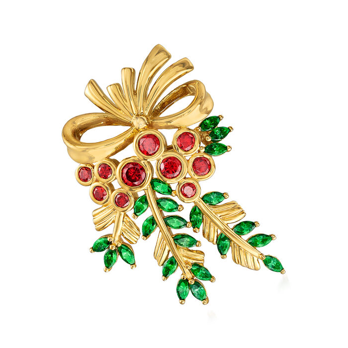 2.20 ct. t.w. Simulated Emerald and 1.00 Simulated Ruby Holly Berry Pin in 18kt Gold Over Sterling
