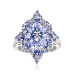 2.70 ct. t.w. Tanzanite Flower Burst Ring in Sterling Silver, , default