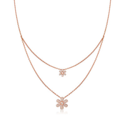 .25 ct. t.w. Diamond Flower Layered Necklace in 18kt Rose Gold, , default