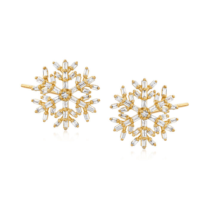 .50 ct. t.w. Diamond Snowflake Earrings in 18kt Gold Over Sterling